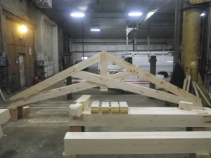 scissor truss test fit timber frame