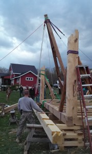 A-frame to raise timber framed plate