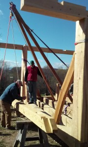 hand raising tie beam timber frame