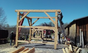 Oak timber frame raising fork lift